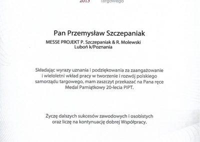 Medal Pamiątkowy dla Przemysława Szczepaniaka