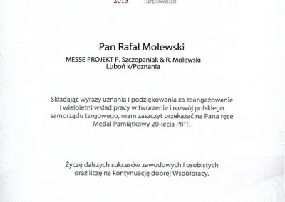 Medal pamiątkowy dla Rafała Molewskiego